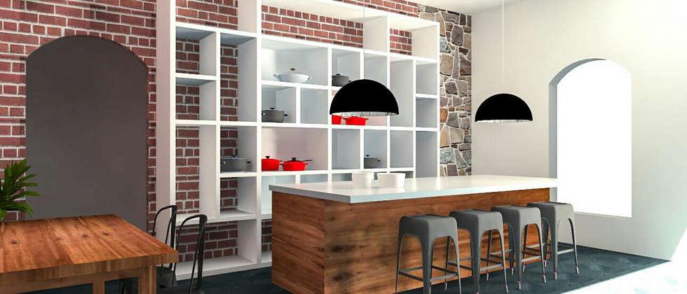 LUOVA CORPORATIVO.  Diseño Interior y Equipamiento a Medida de LOCAL Alma Gourmet: Estudios y oficinas de estilo industrial por LUOVA Interiorismo