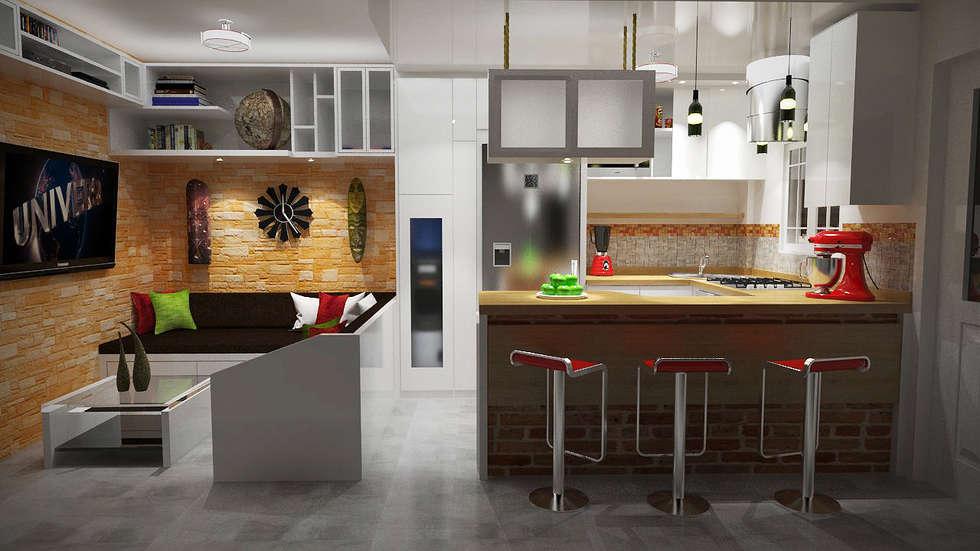 Diseño sala-cocina/comedor : comedores de estilo moderno por ...