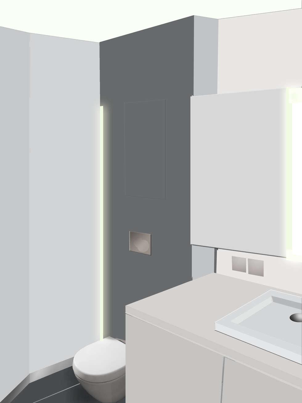 Proposition retouchée de la salle de bain: Salle de bains de style  par cbm interiors sas