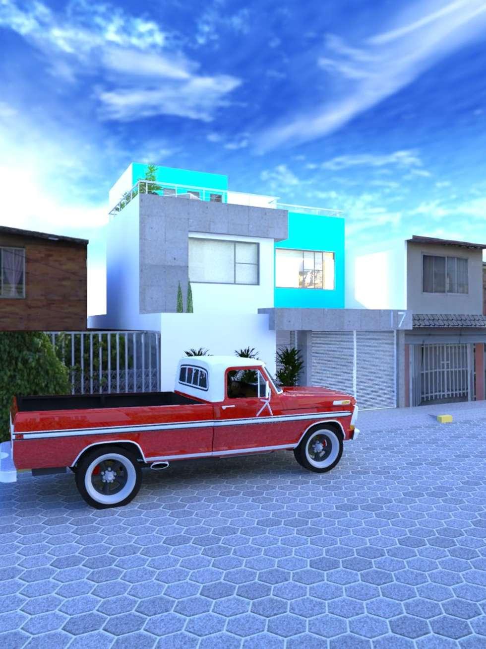 Perspectiva de la fachada principal : Casas de estilo moderno por Ingenieros y Arquitectos Continentes