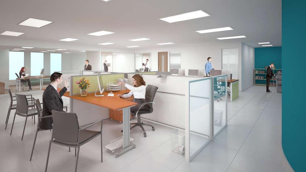 Área gerencial: Estudios y oficinas de estilo moderno por Ingenieros y Arquitectos Continentes