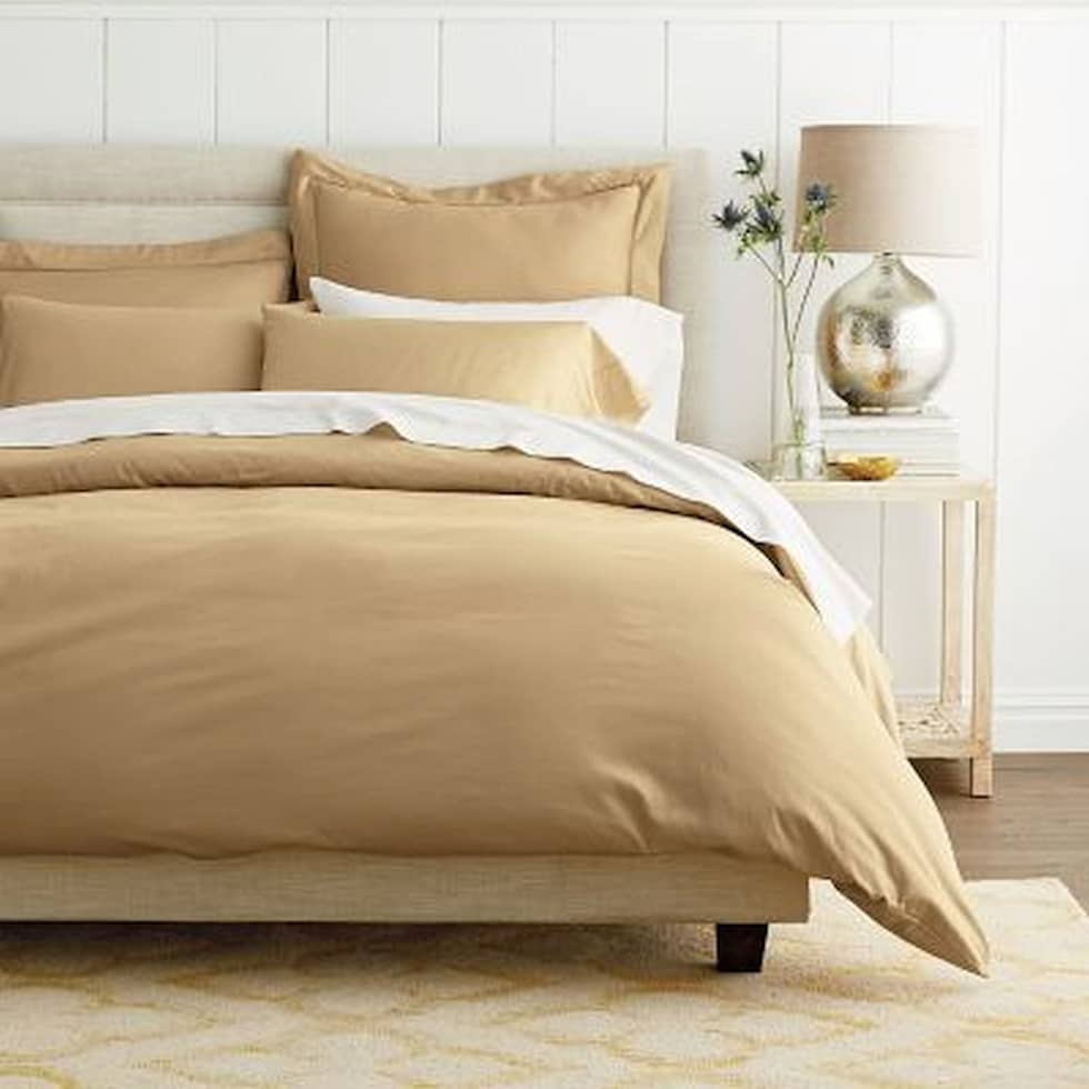 High thread count bed sheets - Cotton Rich Sateen Khaki Double High Thread Count 500tc Bed Sheet With 2 Pillow Covers