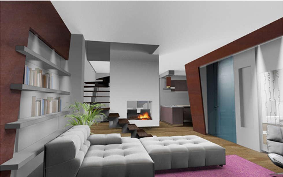 living: Soggiorno in stile in stile Moderno di Renato Carere