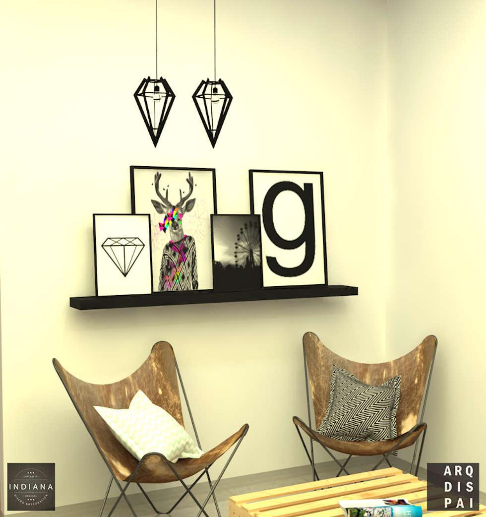 Living Neutro con elementos tipo escandinavos: Livings de estilo escandinavo por Arquitecto Ariel Ramírez