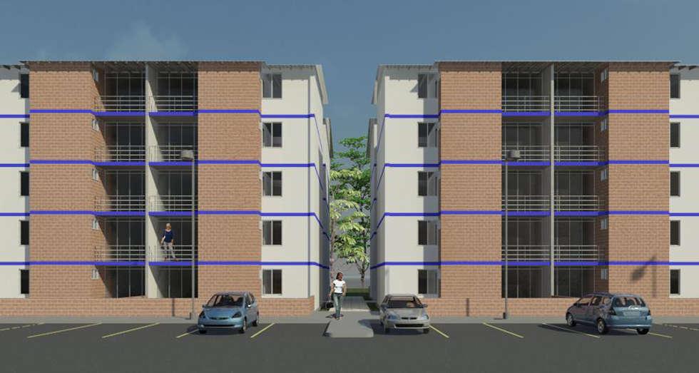 vista en fachada: Terrazas de estilo  por INVERSIONES NACSE S.A.S.