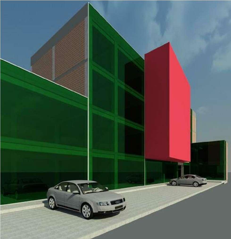 vista 3D: Estudios y despachos de estilo moderno por INVERSIONES NACSE S.A.S.