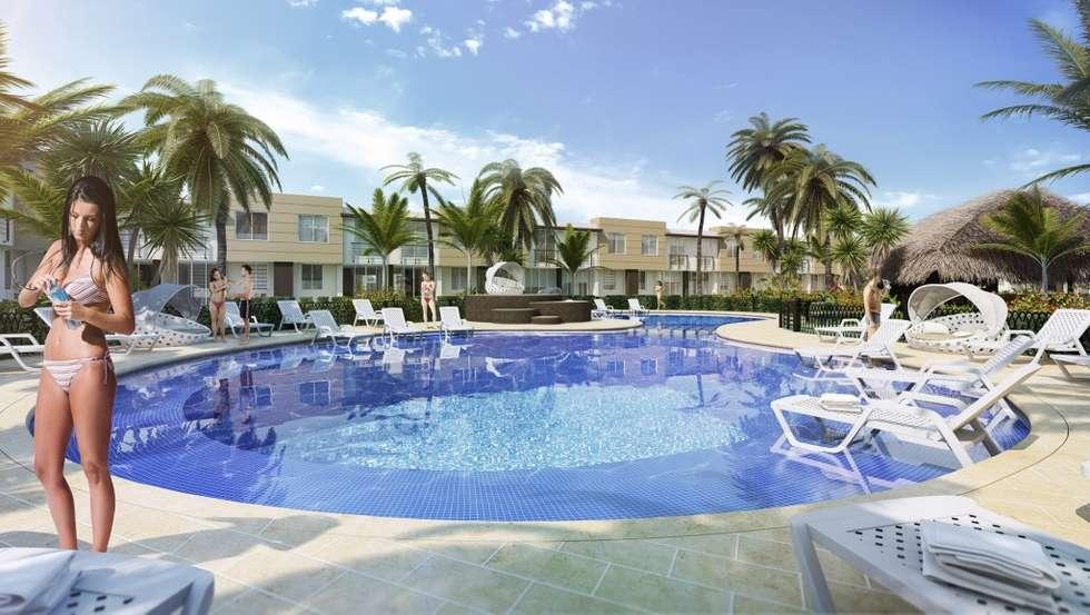 Vista piscina: Piscinas de estilo moderno por INVERSIONES NACSE S.A.S.