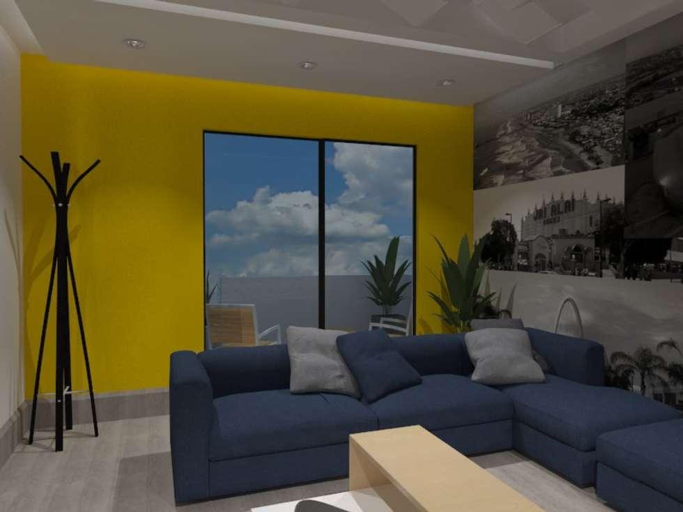 SALA DE TV: Salas multimedia de estilo ecléctico por AurEa 34 -Arquitectura tu Espacio-