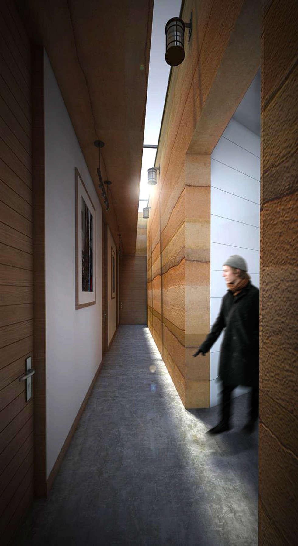 Hall de alcobas: Pasillos y vestíbulos de estilo  por Gliptica Design