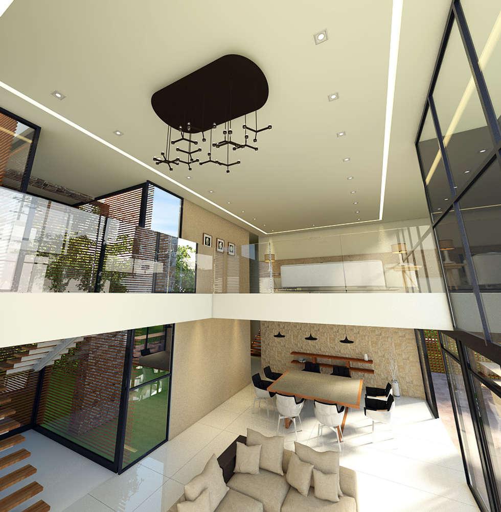 Vista del mesanine - tapanco: Salas de estilo minimalista por RecreARQ Construcciones