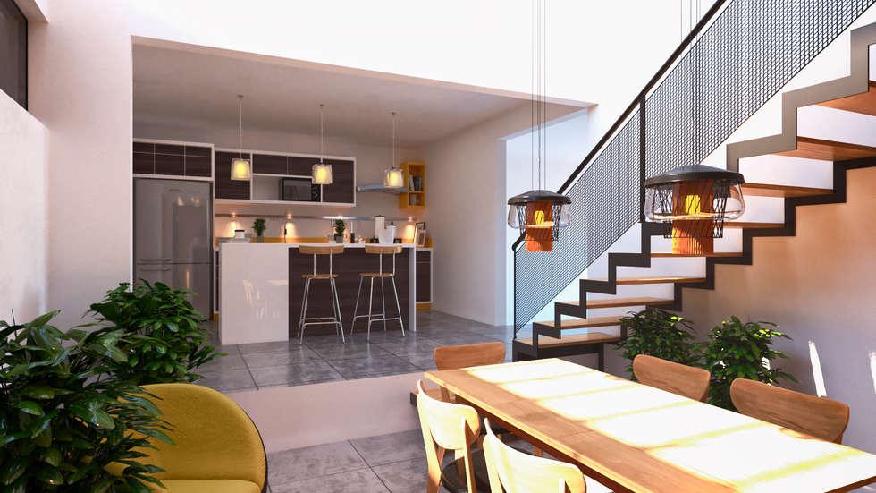 Interiores Comedor- Cocina: Comedores de estilo moderno por Laboratorio Mexicano de Arquitectura