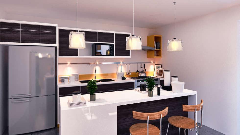 Interiores Cocina: Cocinas de estilo moderno por Laboratorio Mexicano de Arquitectura