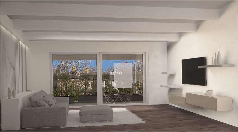 Visualizzazione 3D - soggiorno: Soggiorno in stile in stile Minimalista di Studio Atelier di Silvana Barbato