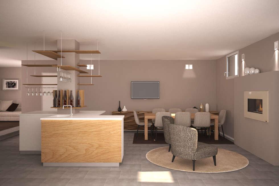 Visualizzazione 3D - taverna: Soggiorno in stile in stile Moderno di Studio Atelier di Silvana Barbato