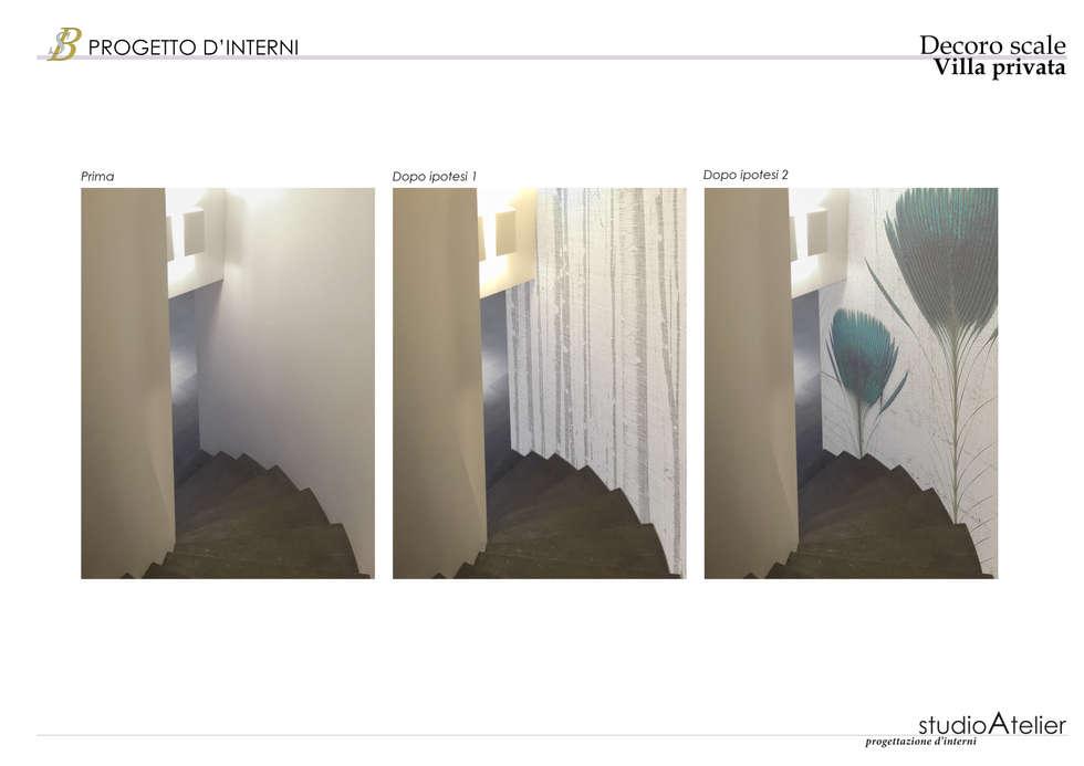 Fotomontaggio - scale: Ingresso & Corridoio in stile  di Silvana Barbato, StudioAtelier