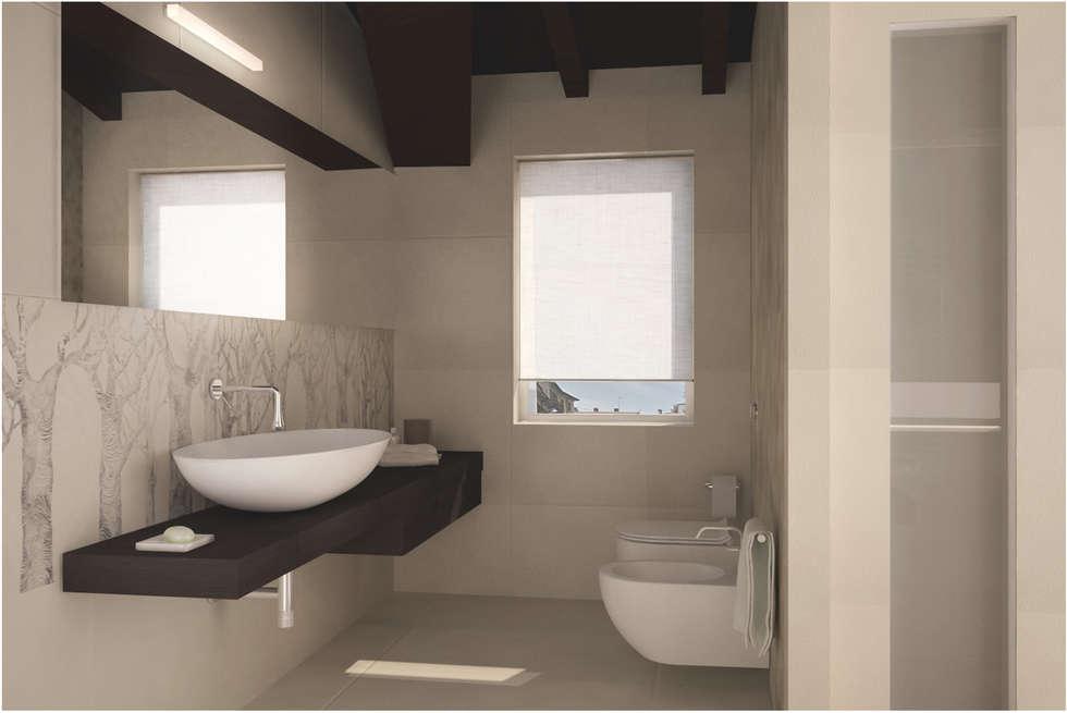 Visualizzazione 3D - bagno padronale: Bagno in stile in stile classico di Silvana Barbato, StudioAtelier