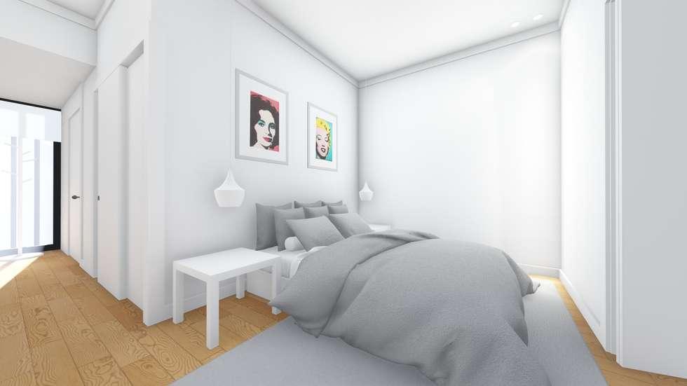 Interior - Apartamento tipo - Quarto: Quartos modernos por Arq. Duarte Carvalho