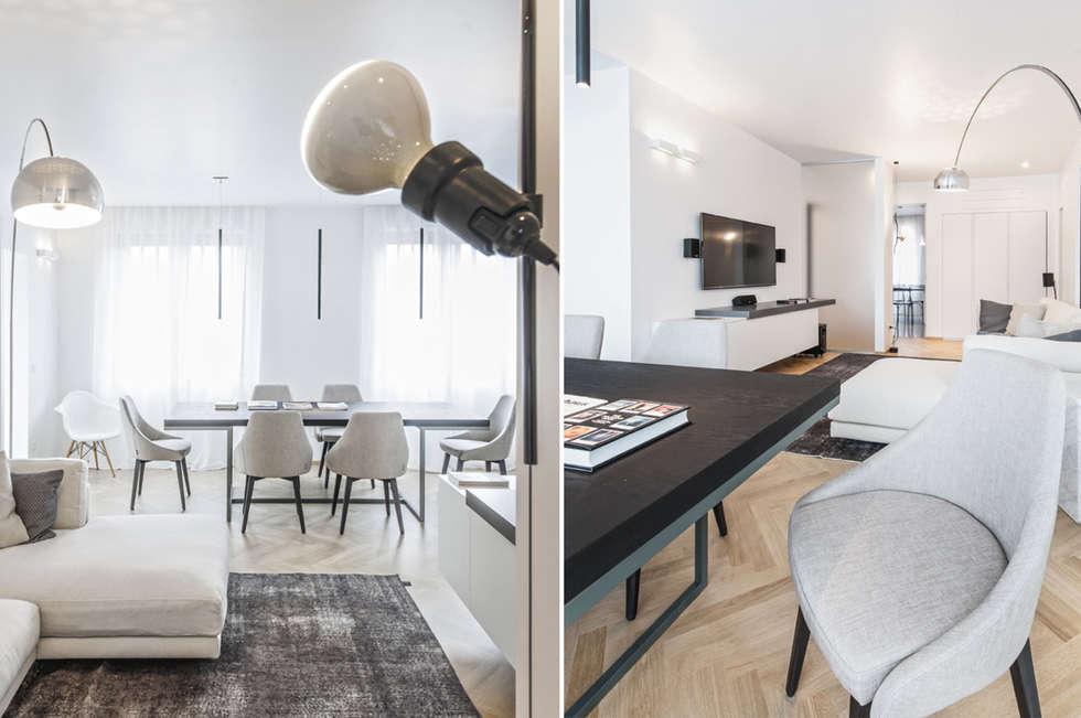 MCArc Casa GC Ristrutturazione con  Interior design e riqualificazione energetica: Soggiorno in stile in stile Moderno di MCArc Laboratorio di architettura sostenibile