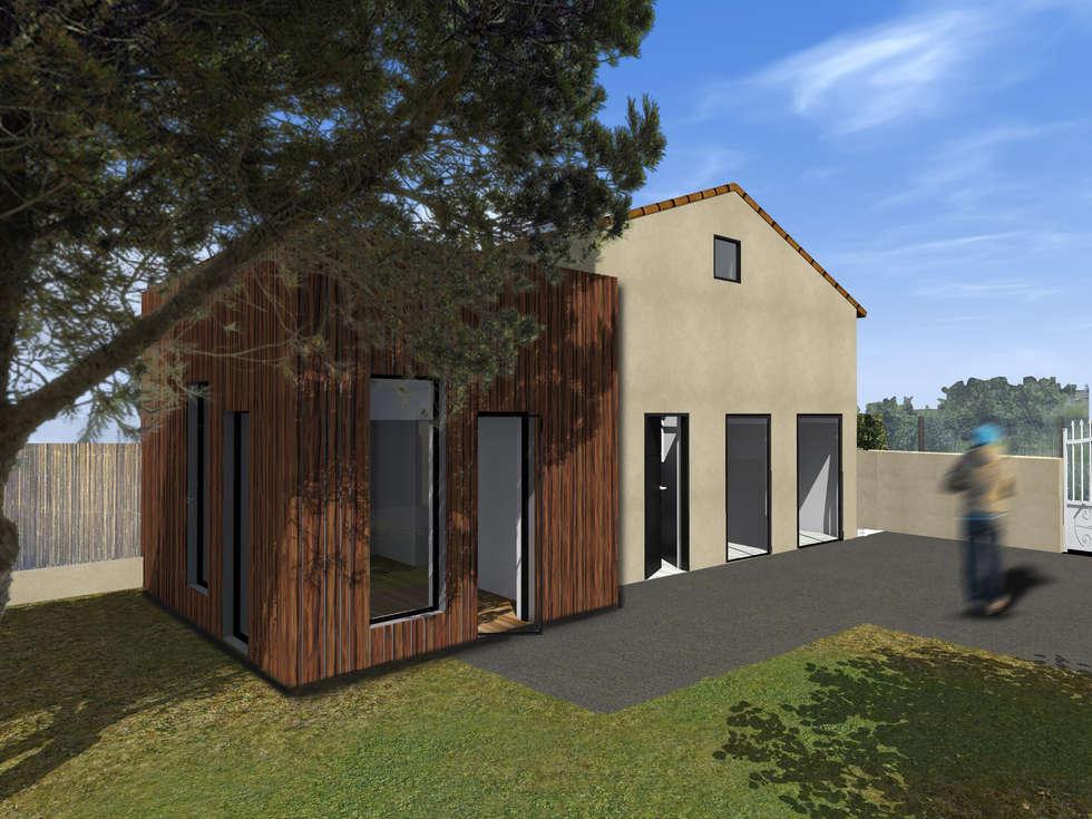 Vue globale extérieure de l'extension: Maisons de style de style Moderne par cetsarchitectureinterieure