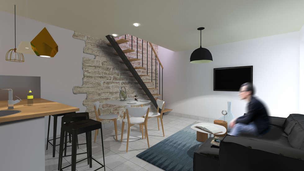 espace salon: Salon de style de style Moderne par cetsarchitectureinterieure