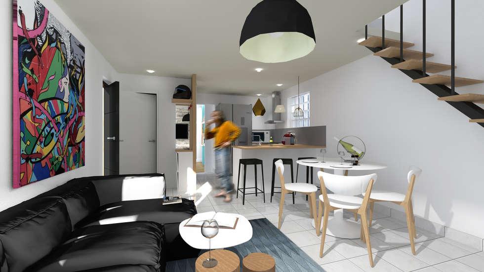 réaménagement de l'espace intérieur de la partie existante.: Cuisine de style de style Moderne par cetsarchitectureinterieure