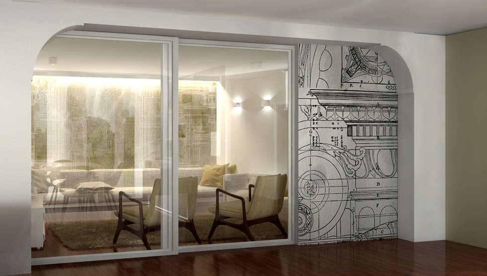 Zona TV - salotto: Soggiorno in stile in stile Classico di Studio Atelier di Silvana Barbato