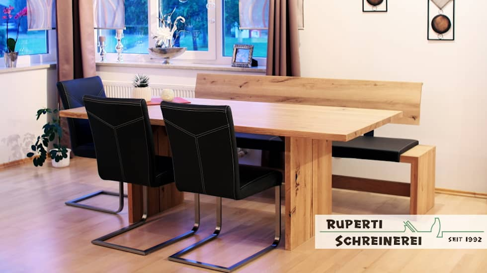 Gut Esszimmer In Eiche Massiv Und Leder Sitzbank: Moderne Esszimmer Von Ruperti  Schreinerei