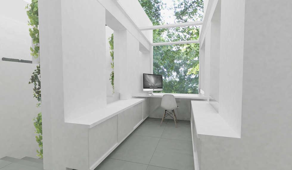 Bureau sous verrière zénithale: Bureau de style de style Minimaliste par Yeme + Saunier