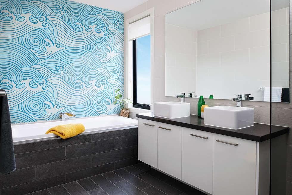 Waves: modern Bathroom by Pixers
