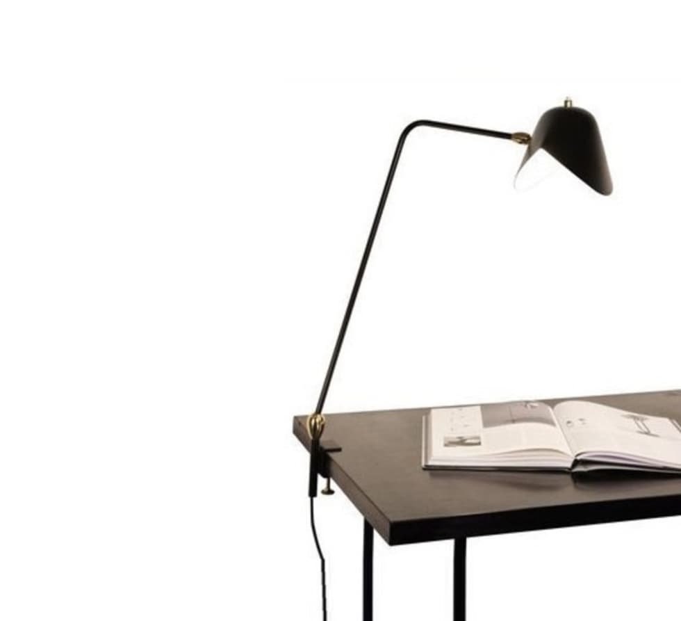 LAMPE DE BUREAU, AGRAFÉE DEUX ROTULES, NOIR, H67CM - SERGE MOUILLE: Bureaux de style  par NEDGIS
