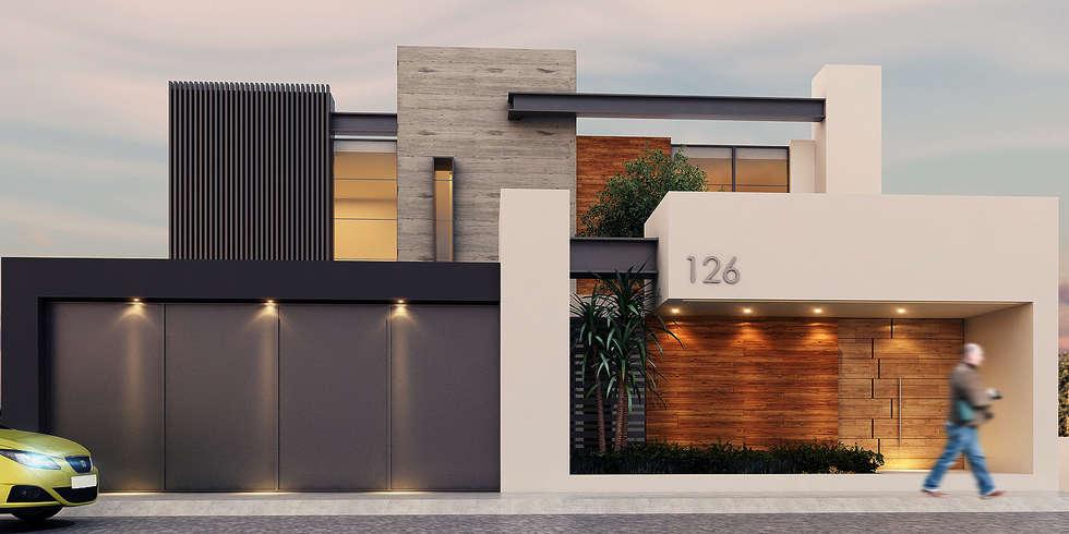 Fachada casas de estilo moderno por besana studio homify for Fachadas de casas estilo moderno