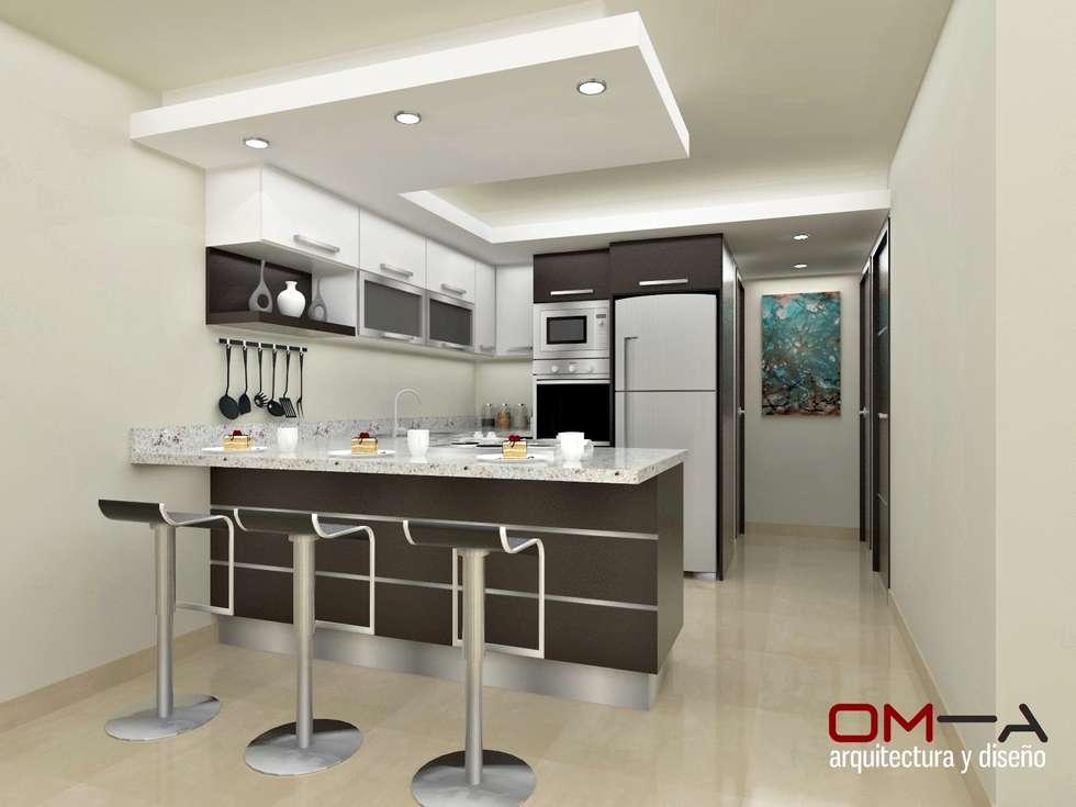 Dise o interior en apartamento espacio cocina cocinas de estilo moderno por om a arquitectura - Arquitectura y diseno ...