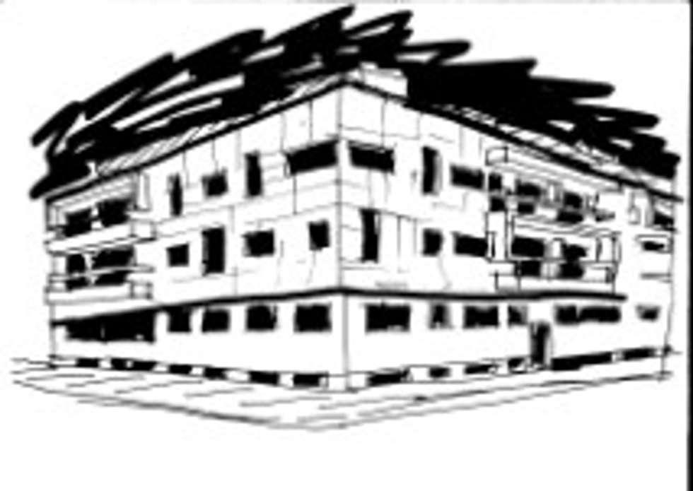 Fachada principal do Edifício Praia Oeste , Praia da Barra , Ílhavo, Distrito de Aveiro: Casas modernas por José Vitória Arquitectura
