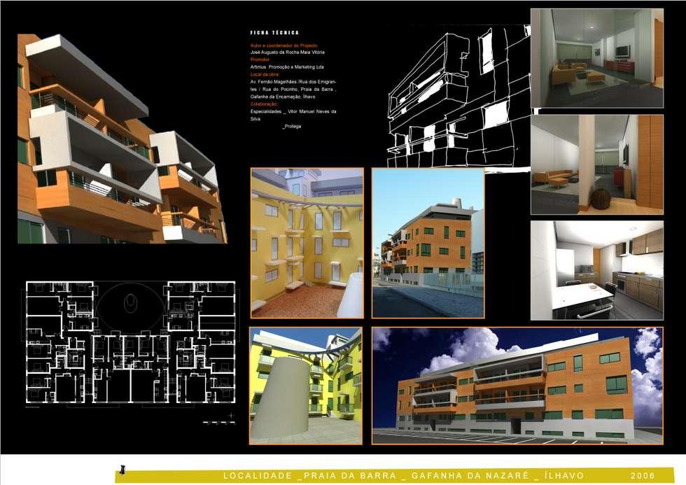 Painel para exposição do Nucleo de Arquitectos de Aveiro do Edifício Praia Oeste , Praia da Barra , Ílhavo, Distrito de Aveiro: Casas modernas por José Vitória Arquitectura