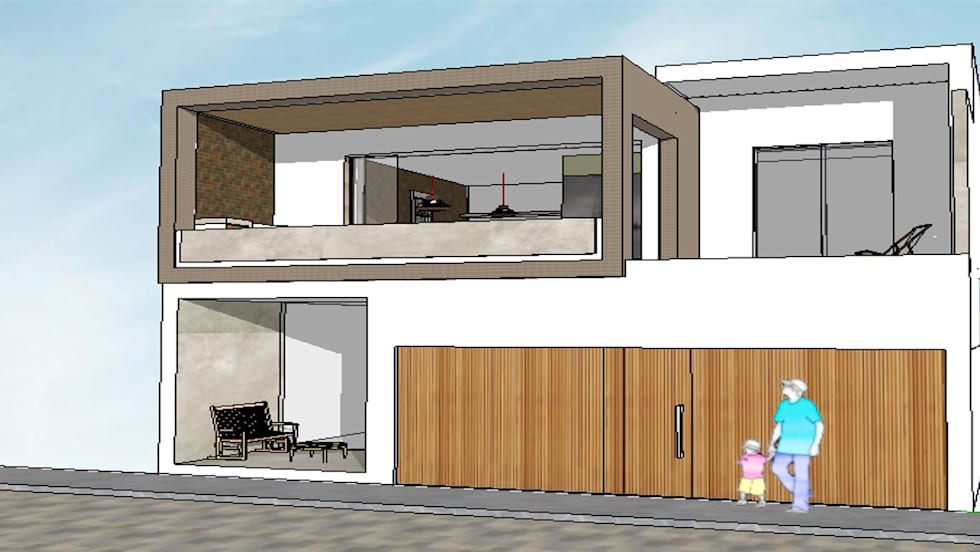 Edificio Bifamiliar Pon - fachada: Casas de estilo minimalista por 1en1arquitectos