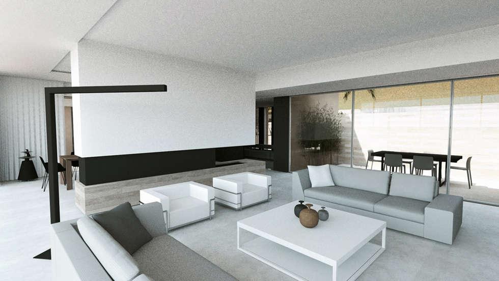 Villa e - Saint-Tropez: Salon de style de style Moderne par ARRIVETZ & BELLE