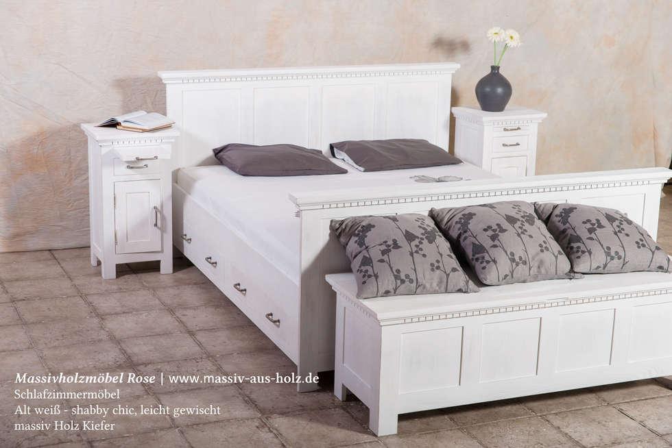 Fesselnd Nachttisch Mit Ausziehbarem Fach In Weiß Massiv Holz Kiefer: Moderne  Schlafzimmer Von Massiv Aus Holz