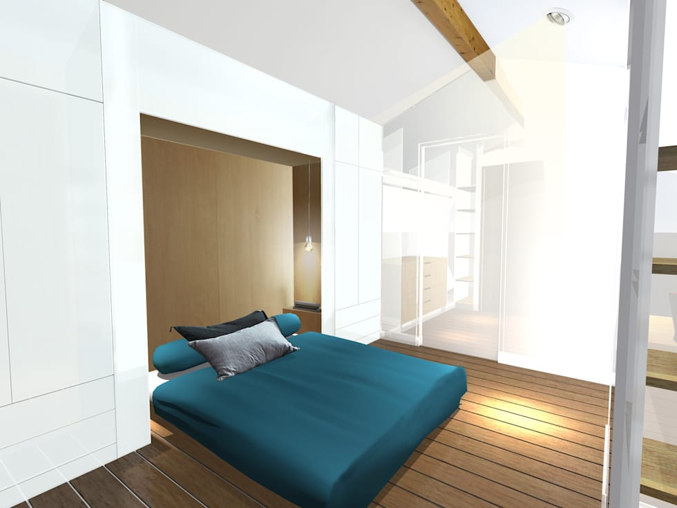 Chambre en mezzanine - esquisse 1: Chambre de style de style Moderne par Kauri Architecture