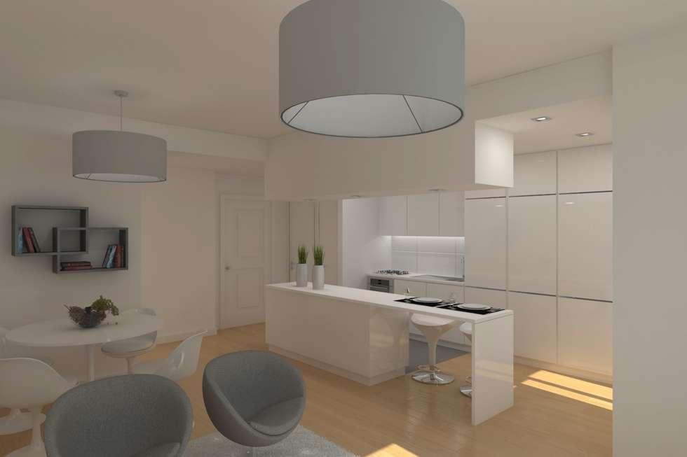 Sala de Estar e cozinha: Cozinhas modernas por Archimais