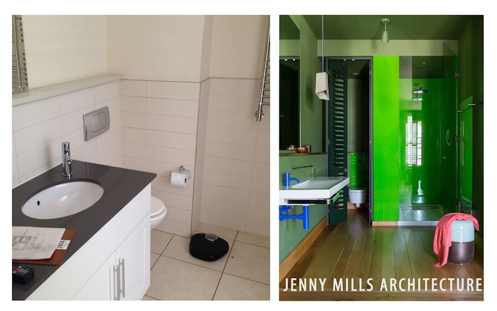 Bathroom 1 - Before and After: modern Bathroom by Jenny Mills Architects