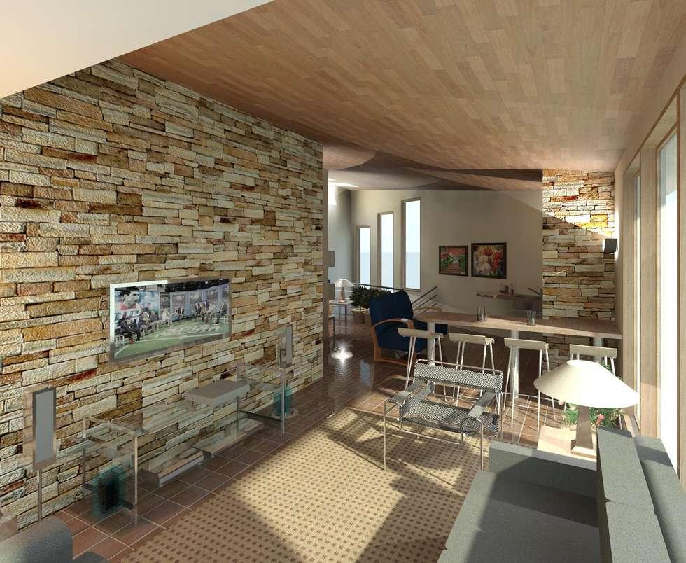 sala de tv: Anexos de estilo moderno por Diseño Store