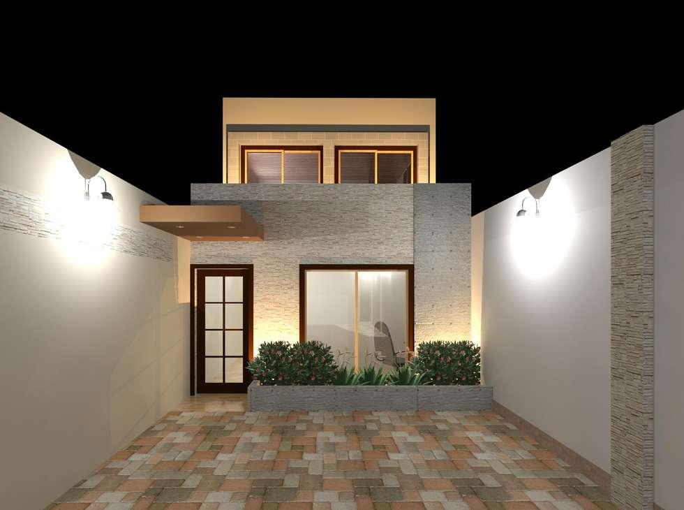 Vista nocturna de la fachada (juego de luces): Casas de estilo moderno por Diseño Store