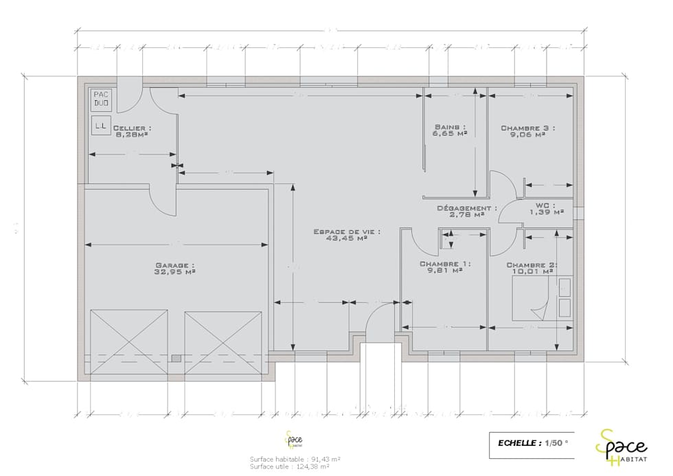 PLAN INITIAL DU REZ DE CHAUSSEE: Maisons de style de style Classique par S'PACE HABITAT / S'PACE HOME DESIGN