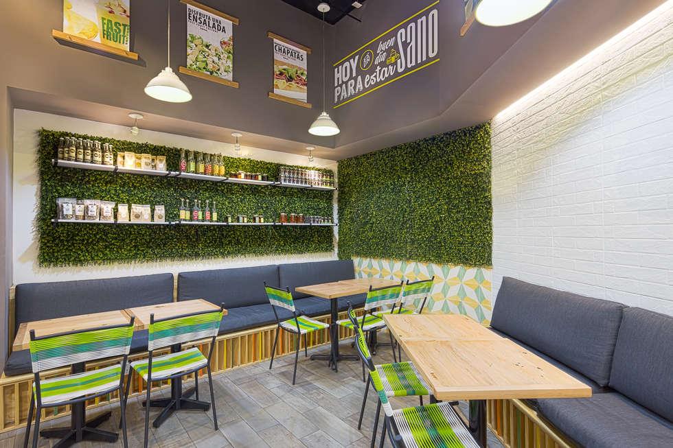 FFF Santa Fé - Interior 04: Restaurantes de estilo  por MX Taller de Arquitectura & Diseño