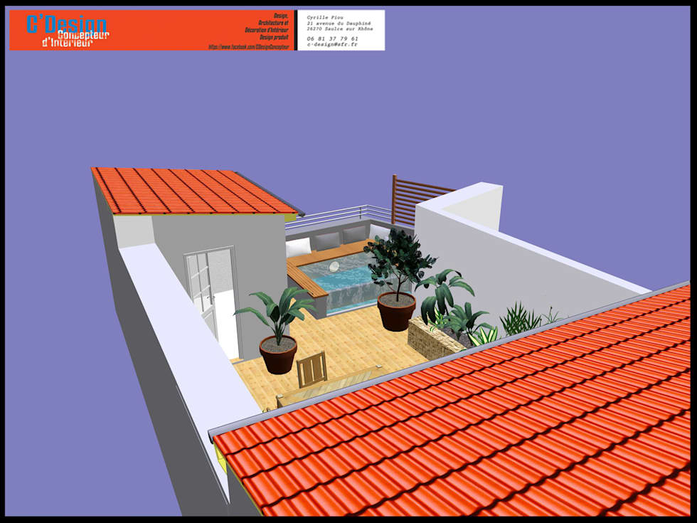 Bassin bouillonnant à débordement sur une terrasse: Terrasse de style  par C'Design