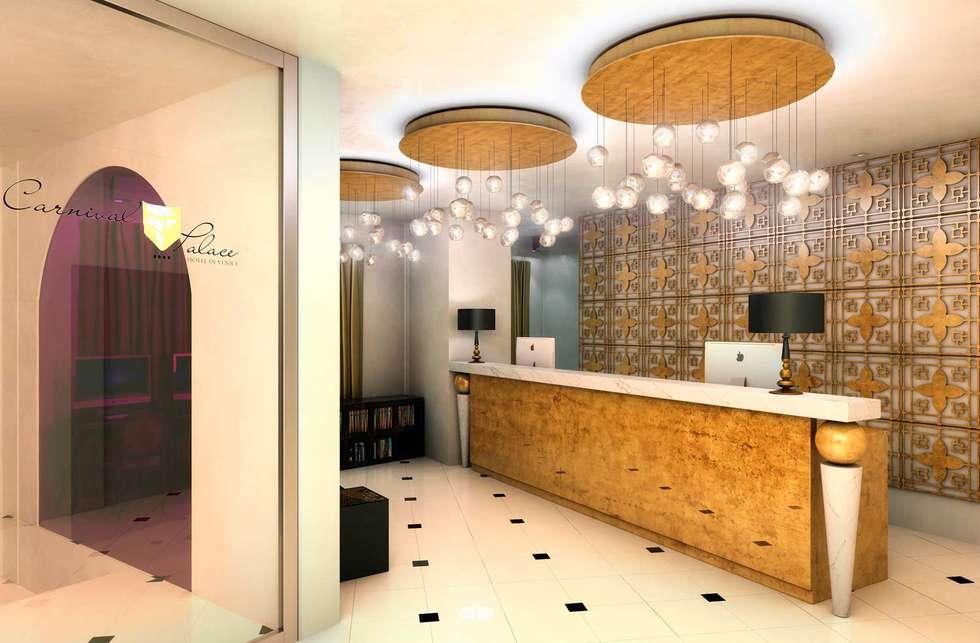 Rendering 3D : Sale Comuni Hotel: Ingresso & Corridoio in stile  di Pasquale De Angelis