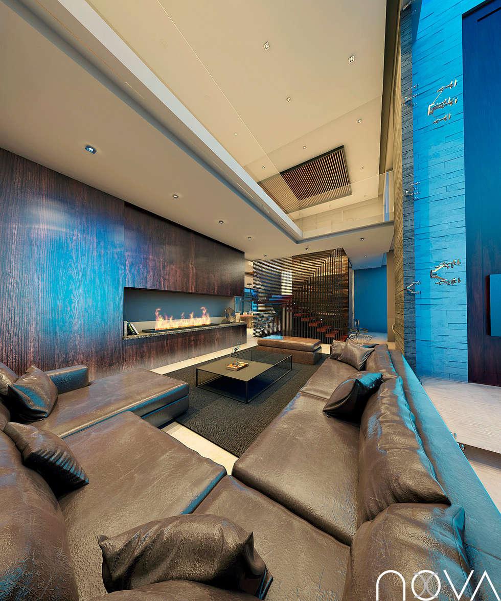 Salas / recibidores de estilo moderno por Nova Arquitectura