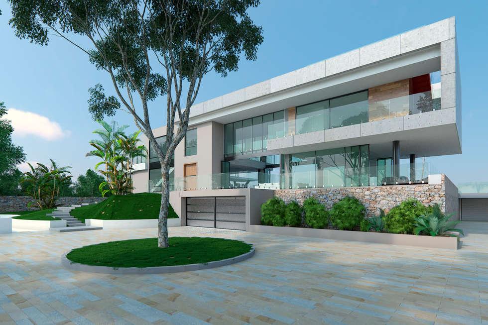 Fachada de acceso: Casas de estilo moderno por Area5 arquitectura SAS