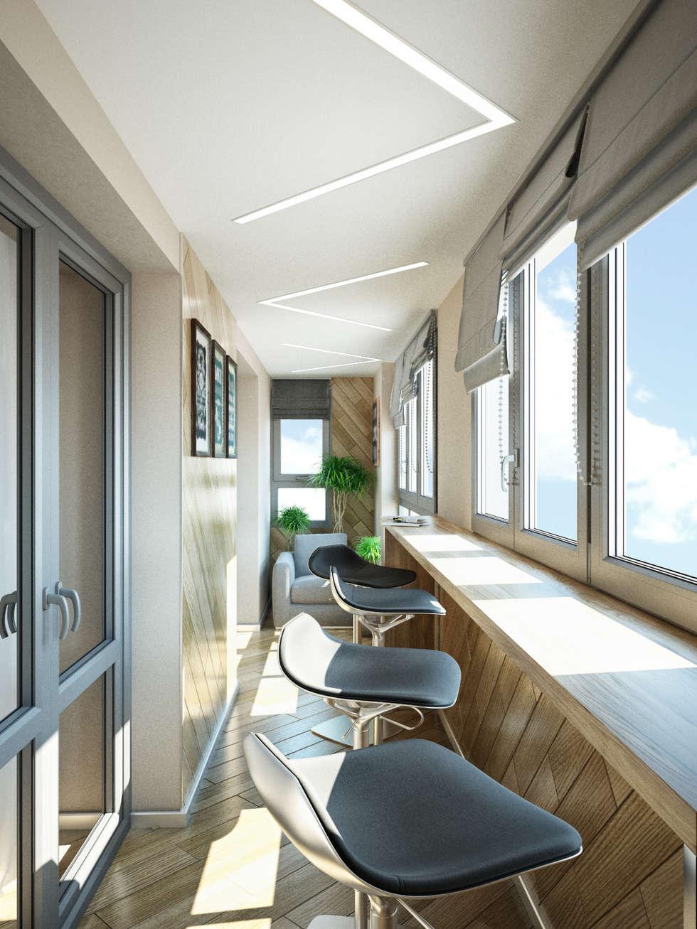 Балкон с барной стойкой by студия архитектуры и дизайна диал.