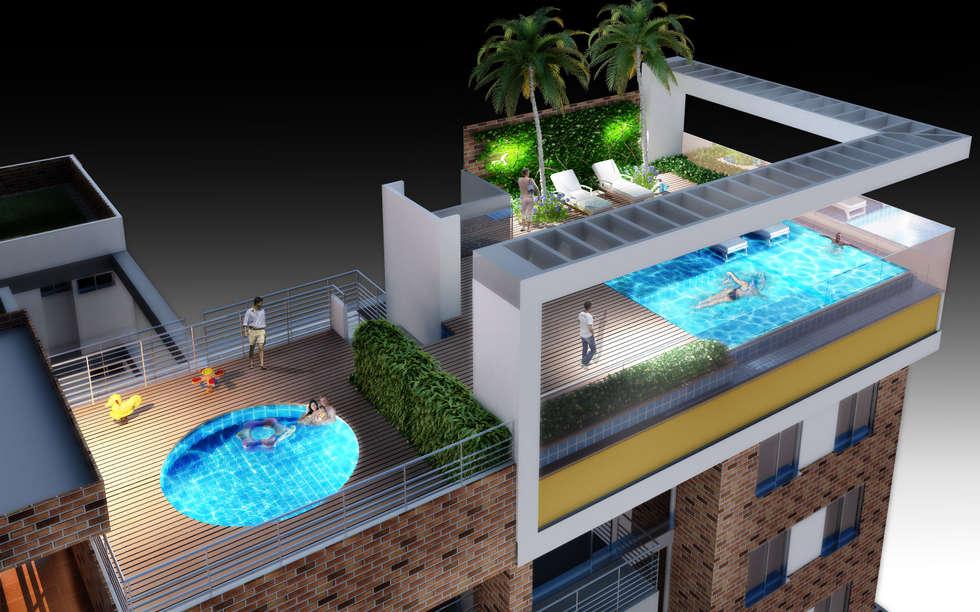 Sky Club: Piscinas de estilo moderno por G+S ARQUITECTURA SAS
